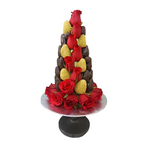 30cm Red & Black Strawberry Tower (Medium)