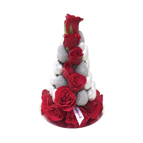 25cm Metallic White Strawberry Tower (Small)